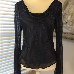 Black Silk Beaded Blouse